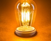 LED Vintage Light Bulb - S14 LED Sign Bulb w/ Gold Tint - Filament LED - Dimmable: Turned On