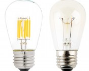 Vintage LED Light Bulb - S14 LED Sign Bulb with Filament LED - Dimmable: Profile View with Size Comparison to Incandescent Bulb