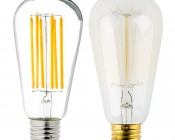 LED Vintage Light Bulb - ST18 Shape - Edison Style Antique Bulb with Filament LED: Profile View with Size Comparison to Incandescent Bulb