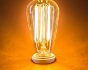 LED Vintage Light Bulb - ST18 LED Bulb w/ Filament LED - Dimmable: Turned On