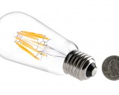 ST18 LED Filament Bulb - 60 Watt Equivalent LED Vintage Light Bulb - Dimmable - 700 Lumens: Back View With Size Comparison