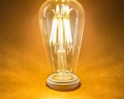 ST18 LED Filament Bulb - 60 Watt Equivalent LED Vintage Light Bulb - Dimmable - 700 Lumens: Turned On