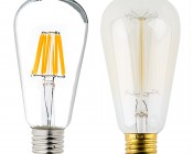 ST18 LED Filament Bulb - 60 Watt Equivalent LED Vintage Light Bulb - Dimmable - 700 Lumens: Profile View With Size Comparison To Incandescent Bulb