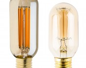 LED Vintage Light Bulb - Radio Style T14 LED Bulb w/ Gold Tint - Filament LED - Dimmable: Profile View with Size Comparison to Incandescent Bulb