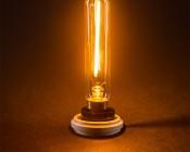 LED Vintage Light Bulb - Radio Style T6 Candelabra LED Bulb w/ Filament LED - Dimmable: Turned On