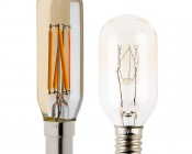 LED Vintage Light Bulb - Radio Style T8 LED Bulb w/ Gold Tint - Filament LED - Dimmable: Profile View With Size Comparison To Incandescent Bulb