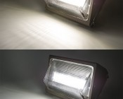 Photocontrol LED Wall Pack - 50W (250W Equivalent) - 5000K/4000K - Up to 6,000 Lumen: On Showing Beam Pattern in Natural White (top) and Cool White (bottom)