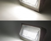 Photocontrol LED Wall Pack - 80W (320W Equivalent) - 5000K/4000K - Up to 10,000 Lumen: On Showing Beam Pattern in Natural White (top) and Cool White (bottom)