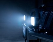 """LED Work Light - 6"""" - Rectangular - 24W: Showing Beam Installed on Jeep Grill Guard"""