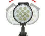 """LED Work Light - 6"""" Round - 12W Adjustable Spot Light w/ Handle: Front View"""