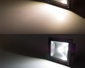 "LED Work Light - 8"" Square - 30W: On Showing Beam Pattern In Warm White (Top) And Cool White (Bottom)."