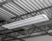 150W LED Linear High Bay Light - 4-Lamp T5HO/7-Lamp T8 Equivalent - 19,650 Lumens - 5000K - Close Up View of Install