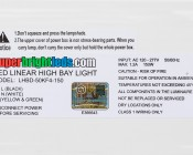 150W LED Linear High Bay Light - 4-Lamp T5HO/7-Lamp T8 Equivalent - 19,650 Lumens - 5000K - Label