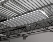 300W LED Linear High Bay Light - 8-Lamp T5HO/14-Lamp T8 Equivalent - 41,400 Lumens - 5000K - Close Up View of Install