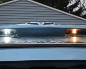 67 LED Bulb - 12 LED Forward Firing Cluster - BA15S Retrofit: Installed in License Plate with Comparison to Incandescent Bulb