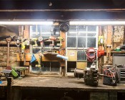 40W Linkable Linear LED Light Fixture - Industrial LED Light - 4' Long: Installed Linked Together Using TPTF-I15 Above Work Bench in Shed