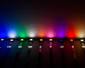 Little Dot SMD LED Accent Light: Shown On In Blue, Cool White, Green, Natural White, Amber, Pink, Ultra Violet, Red, And Warm White. (From Left)
