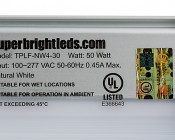 Industrial LED Light - 50W: Label Close Up