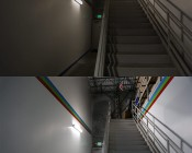 50W Low Bay LED Light Fixture - Industrial LED Light - 4' Long: Shown Installed By Warehouse Steps And Compared To Florescent Fixture. Florescent Top, LED Bottom.
