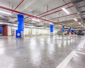 60W LED Vapor Proof Light Fixture - LED Tri-Proof Light - 4' Long - 7,500 Lumens: Light Shown In Parking Garage