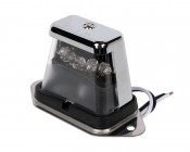 "4"" Universal LED License Plate Light w/ 5 Narrow Beam LEDs w/ Chrome Housing - Pigtail Connector"