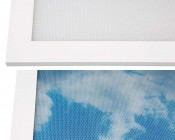 LED Skylight w/ Astronaut Skylens® - 2x4 - Dimmable - Drop Ceiling Recessed Mount: Lens Close Up With & Without Custom Print