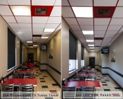 LED Panel Light - 2x2 - 6,500 Lumens - 50W Even-Glow® Light Fixture - Drop Ceiling Recessed Mount - Showing Comparison Between Fluorescent and LED Output in Dining Room