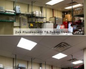 LED Panel Light - 2x2 - 6,500 Lumens - 50W Even-Glow® Light Fixture - Drop Ceiling Recessed Mount - Showing Comparison Between Fluorescent and LED Output in Kitchen Prep Area