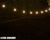 LED Patio String Lights w/ 10 LED Filament or Firework Bulbs - In-Line Sockets - 21'