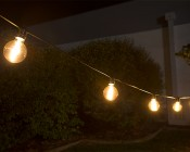 LED Patio String Lights w/ 10 LED Filament or Firework Bulbs - In-Line Sockets - 21': LS10-G25D-UW4GFW
