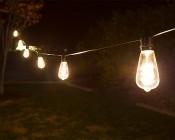LED Patio String Lights w/ 10 LED Filament or Firework Bulbs - In-Line Sockets - 21': LS10-ST18D-UW6DFS