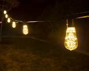 LED Patio String Lights w/ 10 LED Filament or Firework Bulbs - In-Line Sockets - 21': LS10-ST18D-WW2FW