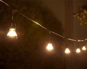 LED Patio String Lights w/ 10 LED Filament or Firework Bulbs - Pendant Sockets - 21': LS10P-A19D-UW6MDF