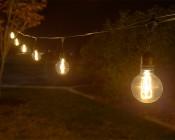 LED Patio String Lights w/ 10 LED Filament or Firework Bulbs - Pendant Sockets - 21': LS10P-G25D-UW4GFW