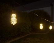 LED Patio String Lights w/ 10 LED Filament or Firework Bulbs - Pendant Sockets - 21': LS10P-ST18D-WW2FW