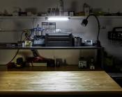 "9"" Swivel Utility LED Light Bar with Rocker Switch: Installed on Workbench"