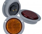 """Round LED Truck Trailer Light with Built In Flange - 2-1/2"""" LED Marker Clearance Light with 13 LEDs: Available In Red, Amber, & White"""