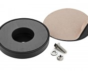 Work Light Round Magnet Base: Back View- Includes Peel & Stick Felt Bottom To Prevent Scratches and Mounting Bolt, Lock Washer and Nut