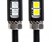 Miniature LED License Plate Bolt: Front View. White Emitting LEDs Has Yellow Phosphor. Sold As Single Units.