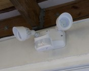 LED Motion Sensor Light - 2 Head Security Light - 24W - 1,850 Lumens: Installed Under Deck