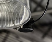 Merrytek Microwave Motion Sensor for Industrial LED Lights - Shown With Reflector Clip Installation