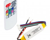 Mini RGB+W Controller with RF Remote - Dynamic Color-Changing Modes - 4 Amps/Channel