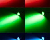 Mini Recessed LED Accent Light - 1 Watt: On Showing Beam Pattern In Red, Green, And Blue.