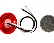 """Mini Round LED Truck Trailer Light - 1"""" LED Marker Clearance Light with 1 LED: Back View With Size Comparison"""
