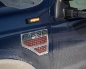Low Profile LED Mini Strobe Light Bezels: Shown Installed On Truck With Amber Mini Strobe (Strobe Sold Separately).