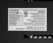 Modular LED High Bay Light - 300W: Close Up View Of Specs Label