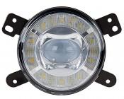 "3-1/2"" LED Projector Fog Lights Conversion Kit w/ Halo Daytime Running Lights - Chrysler/Jeep/Dodge: Front View"