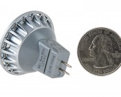 MR11 LED Bulb - 3 SMD LED Bi-Pin Bulb: Back View with Size Comparison