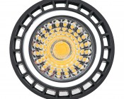 3 Watt MR16 LED bulb - Multifaceted Lens with High Power Epistar COB LED: Face View