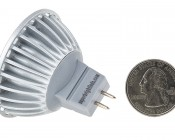 MR16 LED Bulb - 40 Watt Equivalent - Bi-Pin LED Spotlight Bulb: Back View with Size Comparison